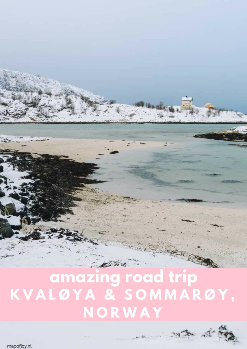 Beautiful road trip route in Northern Norway from Tromso though Kvaloya and Sommaroy - Map of Joy