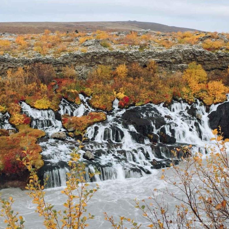 Hraunfossar Iceland in Autumn - Map of Joy