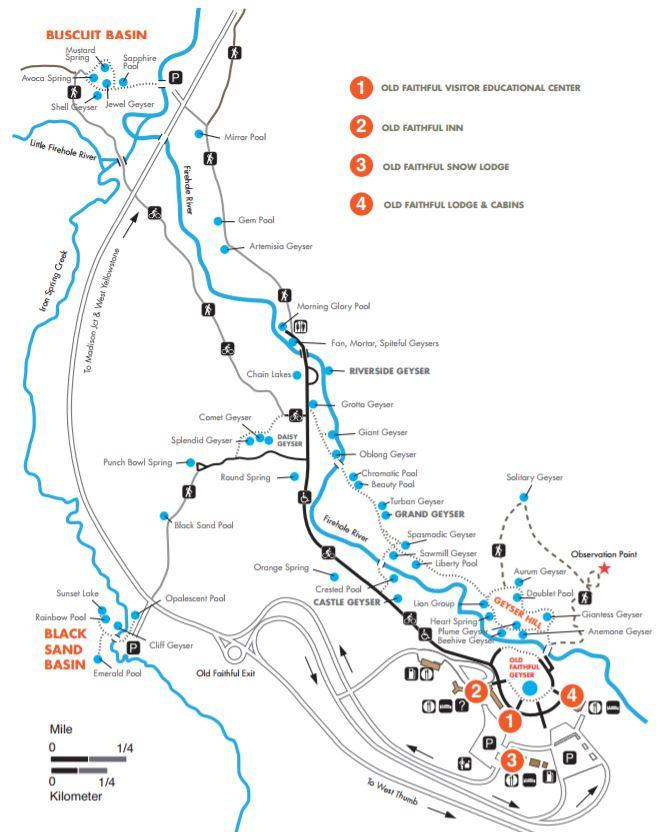 Map Upper Geyser Basin Trail, Yellowstone NP - Map of Joy