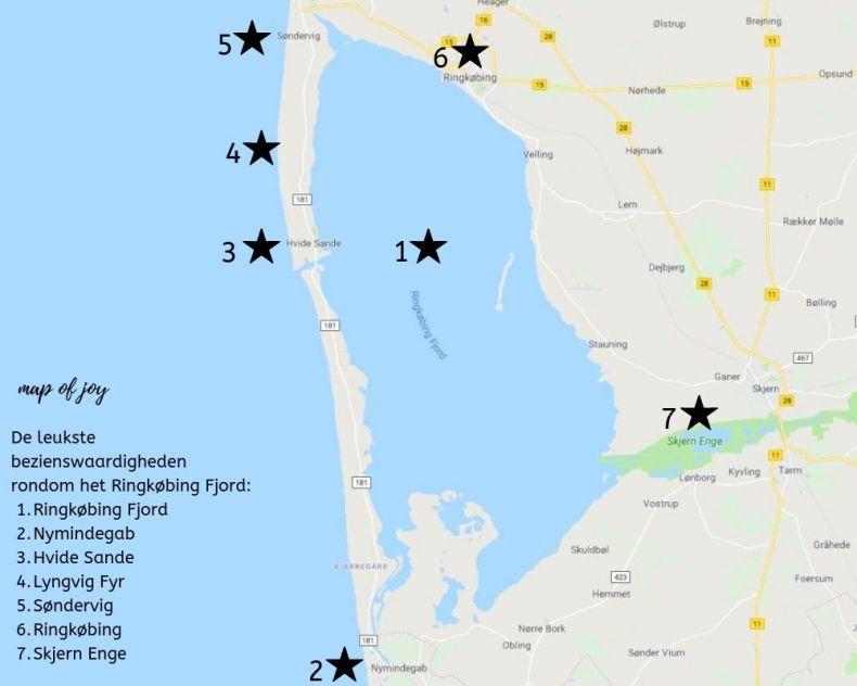 Plattegrond bezienswaardigheden Ringkobing Fjord, Denemarken - Map of Joy
