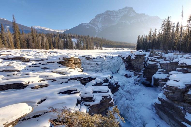 Op skivakantie in Canada's Jasper National Park, Athabasca Falls