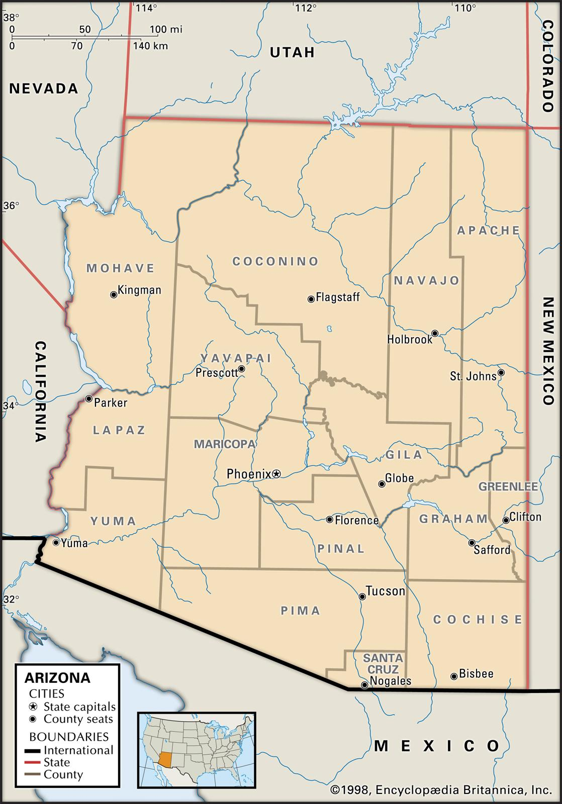 State And County Maps Of Arizona