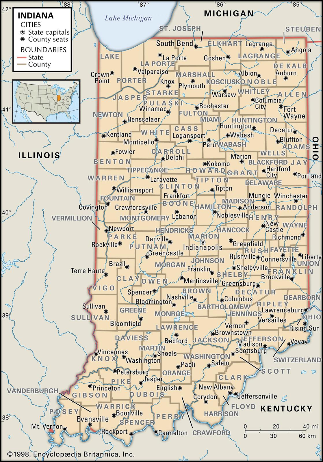 Southern Indiana Map With Cities