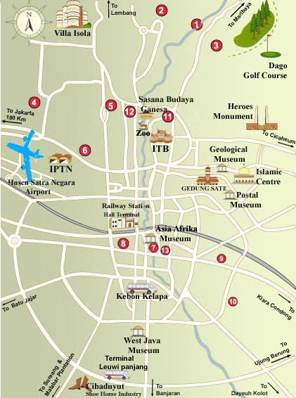 Bandung Tourist Map Bandung Indonesia Mappery