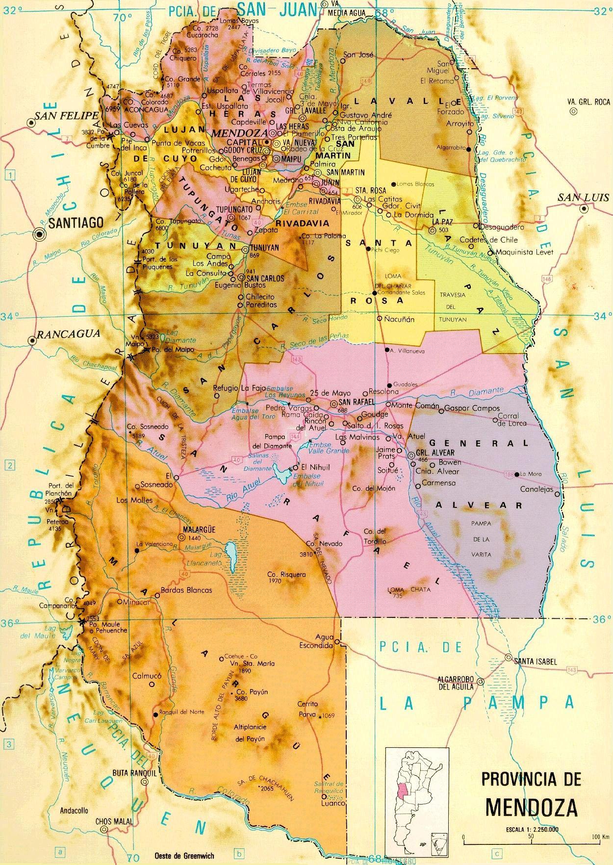Argentina Map Mendoza