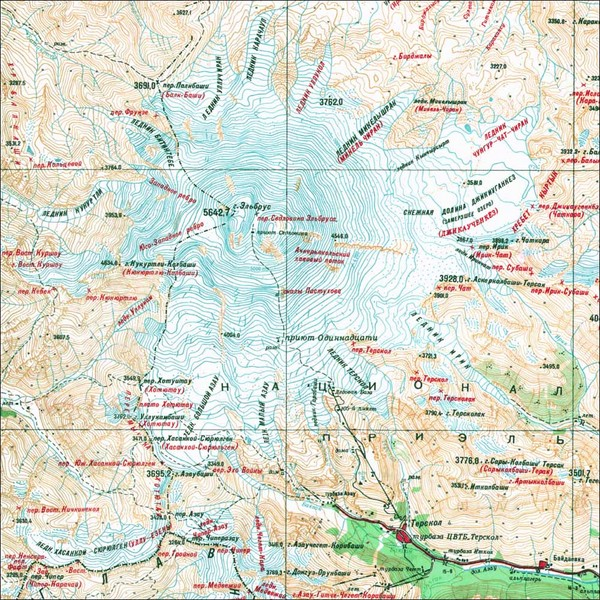 Mt Elbrus Geographical Map Mt Elbrus Russia mappery