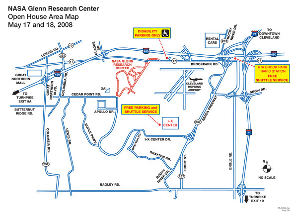 NASA Glenn Research Center Location Map 21000 Brookpark