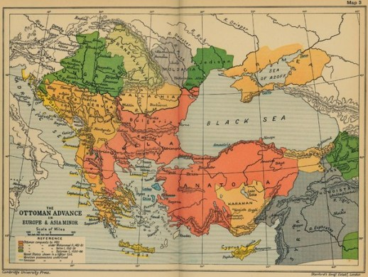 The Ottoman Advance of Europe and Asia Minor Map   Europe     mappery Fullsize The Ottoman Advance of Europe and Asia Minor Map