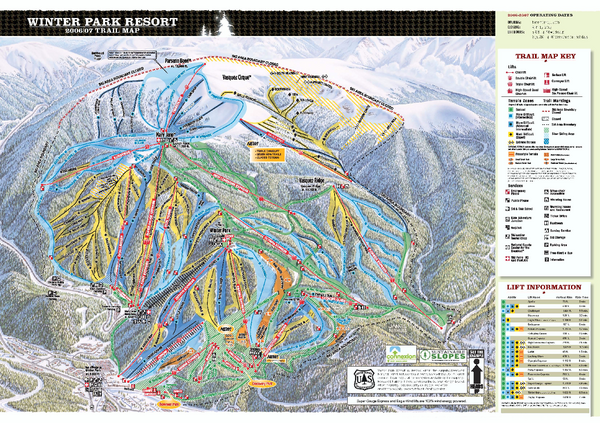 Winter Park Resort Ski Trail Map 2006 07   Winter Park Colorado     Fullsize Winter Park Resort Ski Trail Map 2006 07