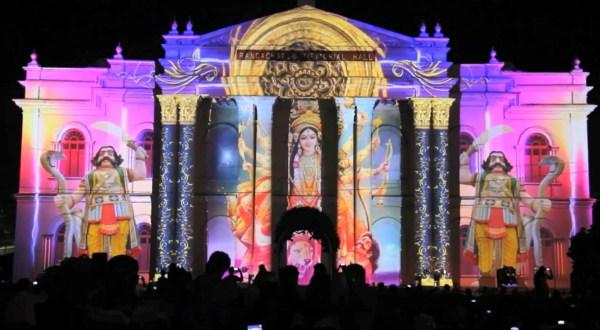 Яркий 3D mapping на индийском фестивале Mysore Dasara