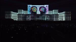 Бухарестский Дворец Парламента с архитектурным 3D mapping
