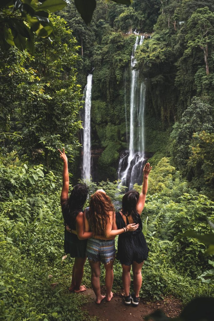 girls enjoying the best waterfalls in bali