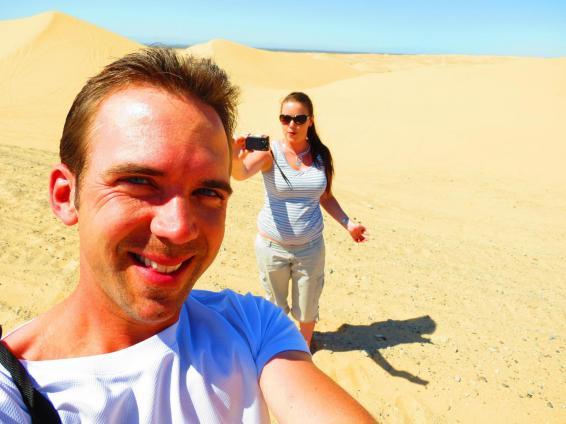 Exploring California's sand dunes near the Mexican border.