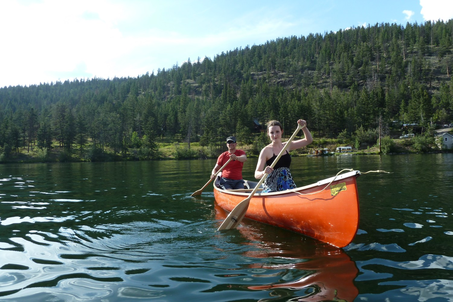 Savannah canoeing with Dutch boyfriend at her family cottage in B.C. Canada