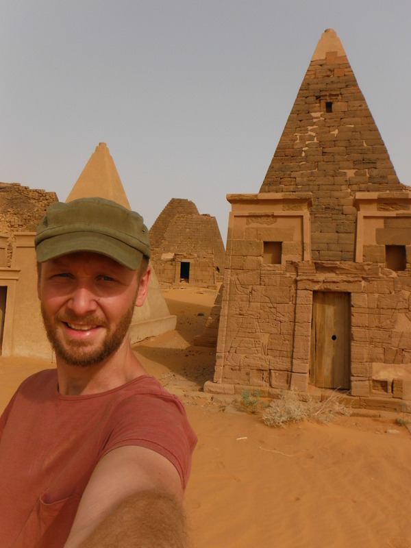 Barrie Roulston of Fortune and Glory, Kid.  Pyramids of Meroe in Sudan.