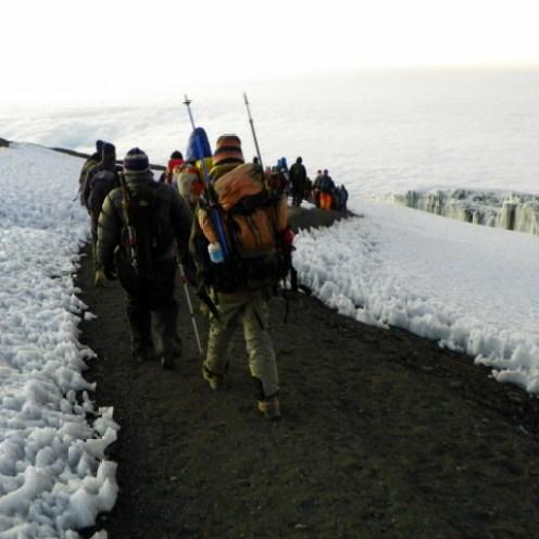 Hiking the final plateau to Uhuru Peak.
