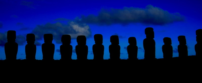 All fifteen standing moai at Ahu Tongariki, excavated and restored in the 1990s.
