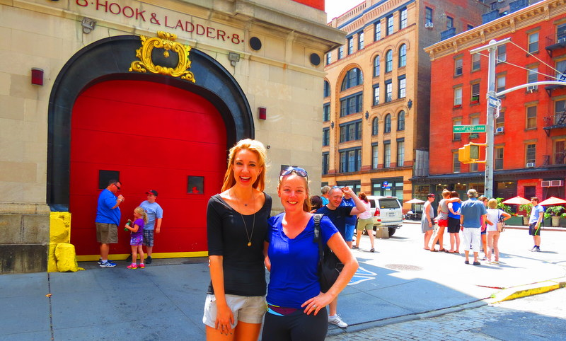 Outside the famous Hook & Ladder 8 featured in Ghost Busters, Hitch & Seinfeld.