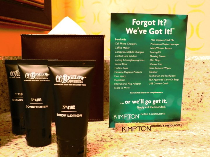 The LONG list of complimentary amenities on offer.