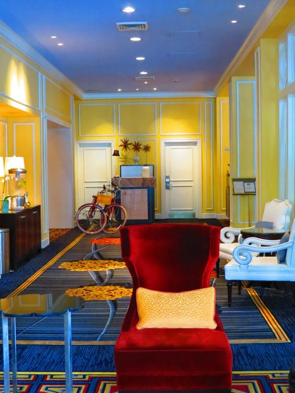 Plush lobby furniture.