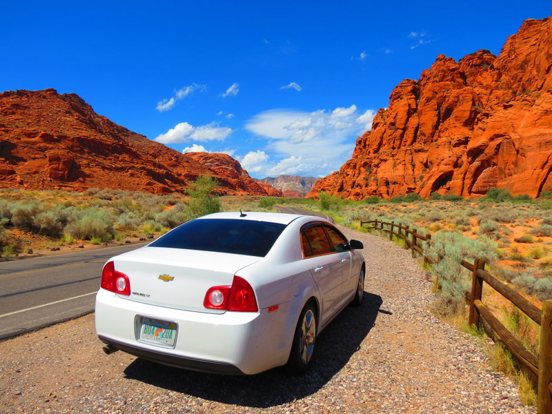 Driving Snow Canyon State Park.