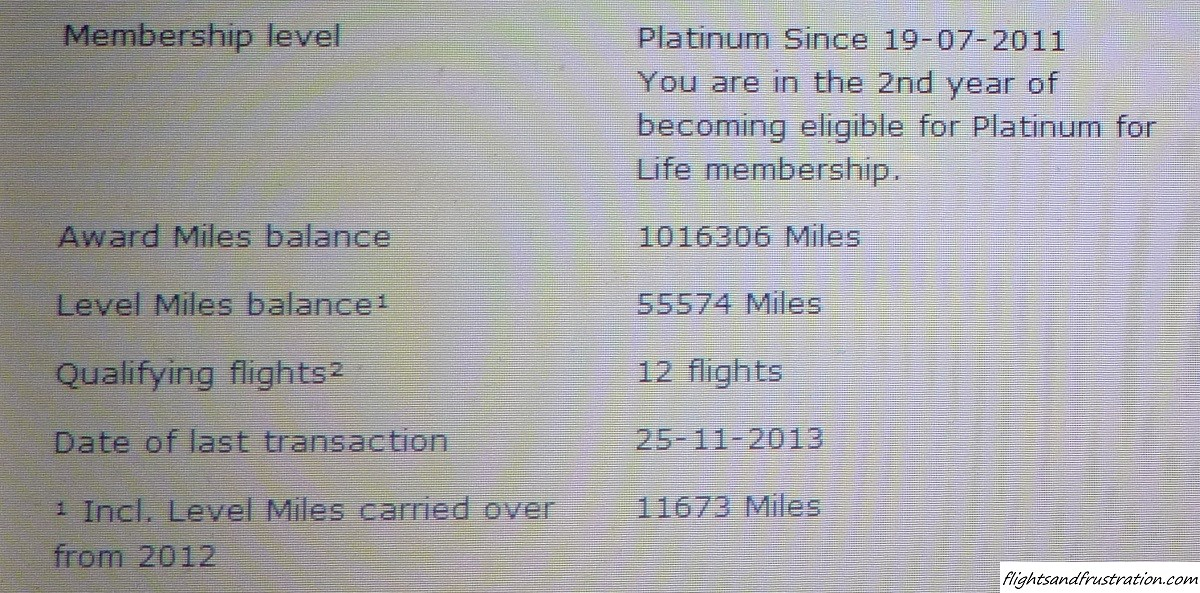 I have over a million frequent flyer miles