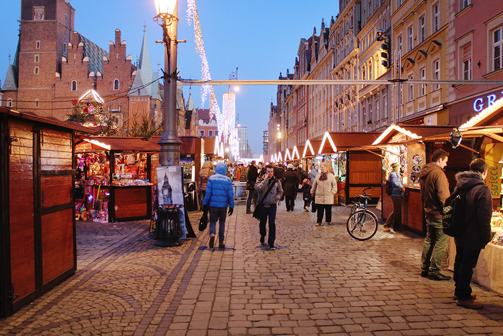 Christmas Markets in Wroclaw's Market Square, Poland
