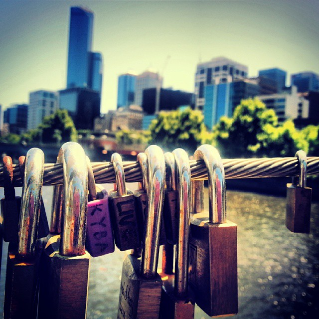 Melbourne's love locks in the sunshine