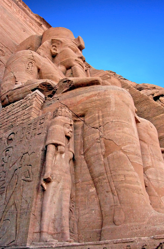 Statue of Rameses II and his chief wife Nefertari at Abu Simbel.