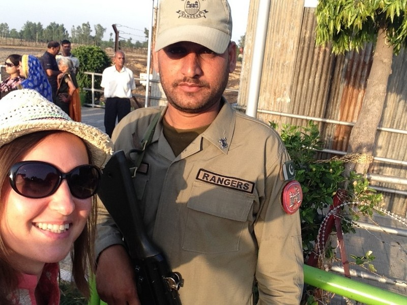 Selfie with the border rangers at the border between India and Pakistan.