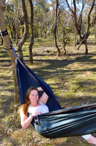 Sleeping in a hammock