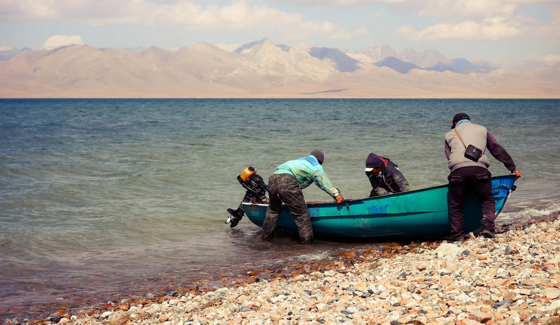 Local fishermen in Song-Kul Naryn, Kyrgyzstan