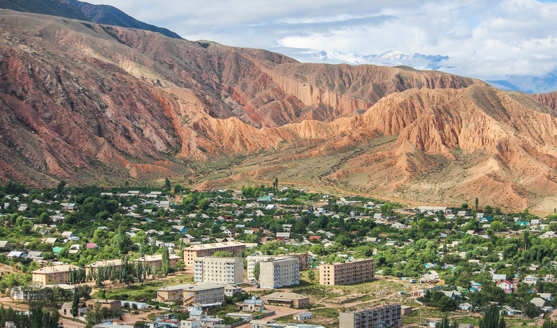 Kaji Sai Village on the southern shore of Issyk Kul Lake. The village is surrounded by mountains to the south, east and west, and from the north side there is a huge and beautiful lake.