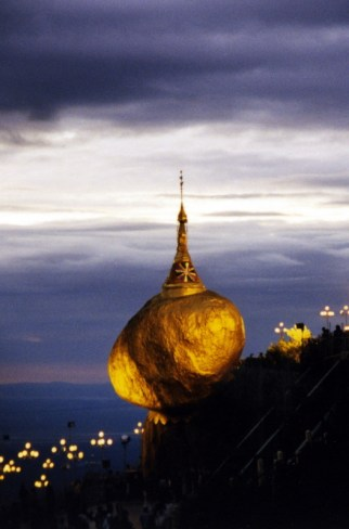 Kyaiktiyo Pagoda (the Golden Rock) is a Buddhist pilgrimage. A giant gilded rock on the top of Mt Kyaiktiyo, pilgrims journey here from all over the country, chanting, lighting candles, and mediating all throughout the night.