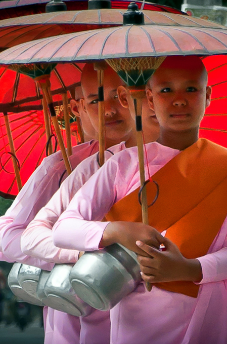 "These beautiful young Burmese girls, with their pink robes and red parasols, are nuns of the Theravada (meaning ""the Ancient Teaching"") order of Buddhism."