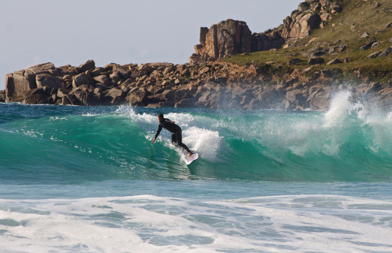 Large waves make Gwenver Beach a favorite among local bodyboarders and surfers.