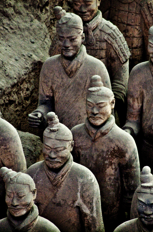 Discovered in 1974, the terracotta statues at Xian represent the armed retinue of unified China's first emperor, Qin Shi Huang Ti. There were more than 8,000 statues found in the emperor's tomb.
