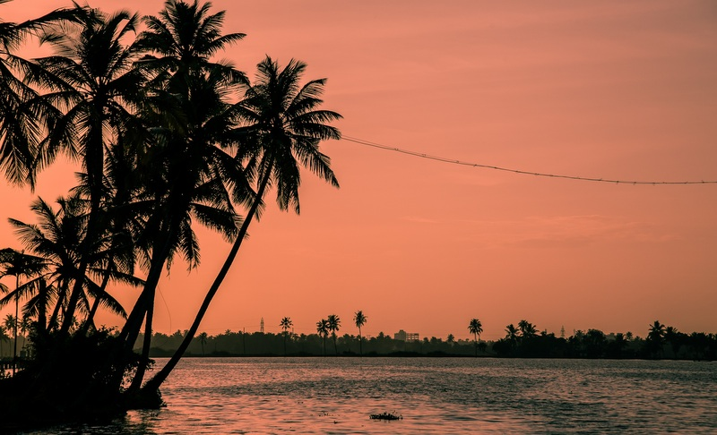 Kerala houseboat sunset