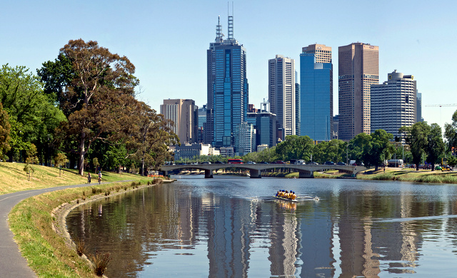 A panoramic view of the Yarra River flowing through Melbourne and the Yarra Trail on it's banks. This is a composite of 5 individual images taken with a Canon 5D and 24-105mm f/4L IS lens.
