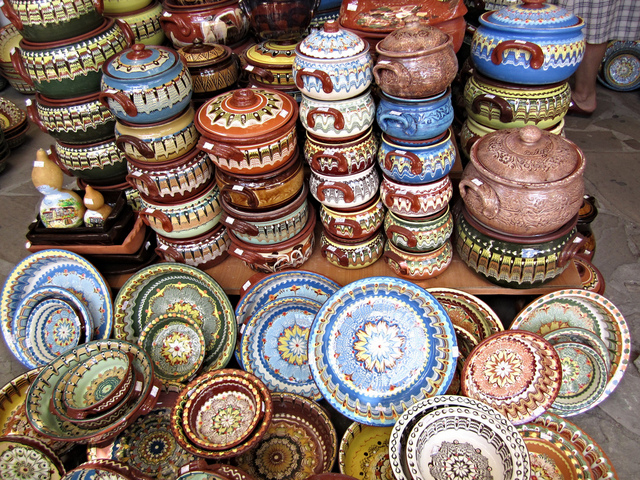 Richly decorated earthenware pots, Bulgaria