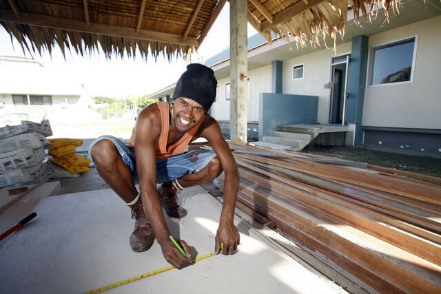 Workman put the finishing touches to the Solomon Islands National Health Laboratory.