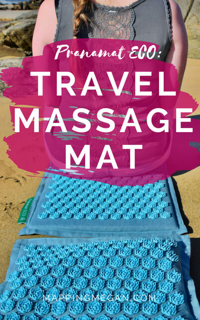 Pranamat ECO is a DIY acupressure massage mat for getting rid of muscle back pain, and it's portable which is perfect for travel.