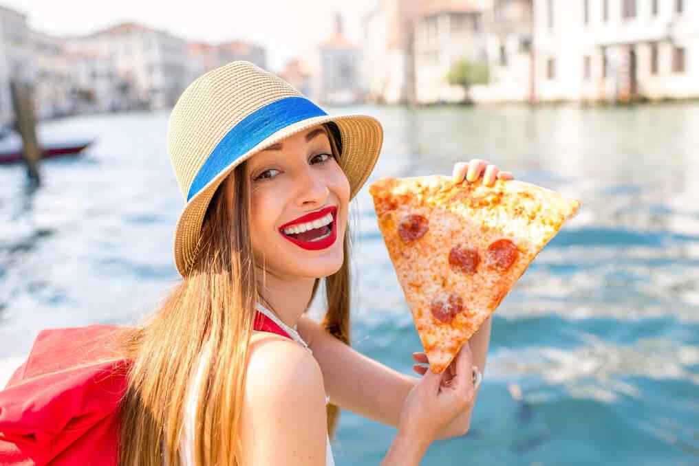 Europe Pizza RF Female traveler woman Italy