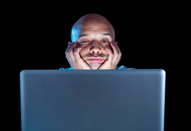 Computer night stressed overworker laptop RF
