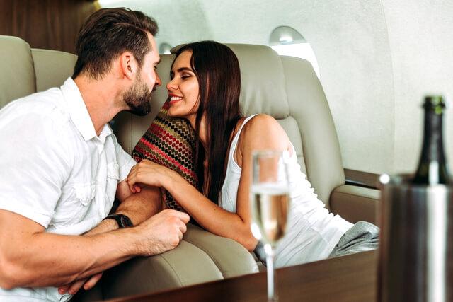 Couple love private jet travel RF