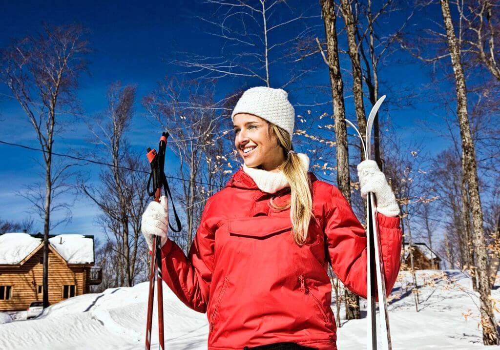 Female girl woman ski snow RF
