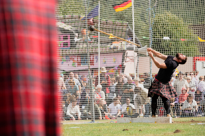 Hammer throw at The Ballater Highland Games