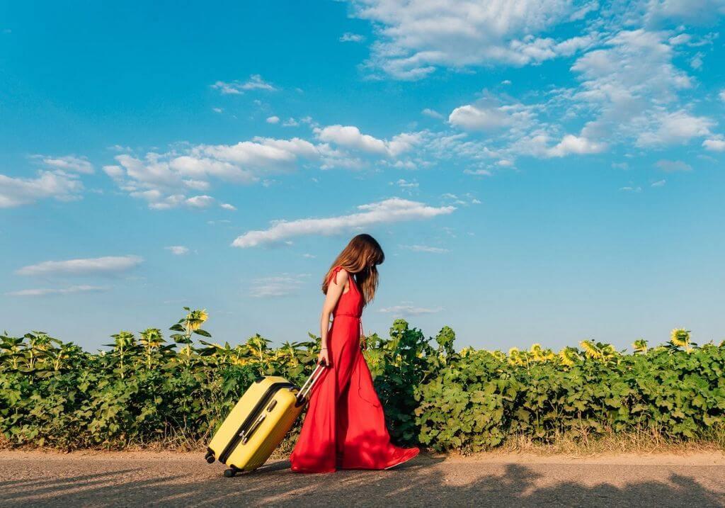 Female traveler luggage RF