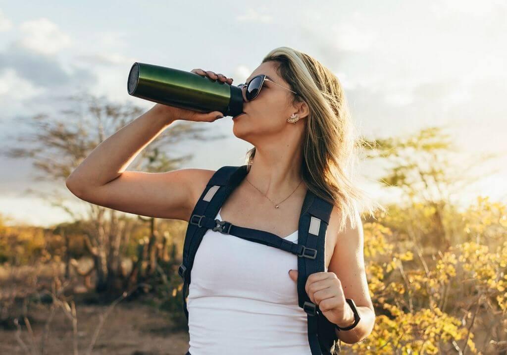 Drink bottle woman hiker hiking RF