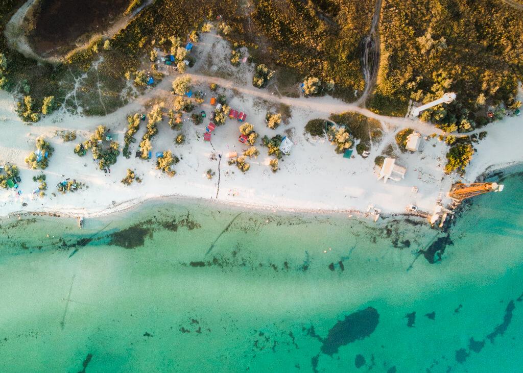 Camping in Ukraine Dzharylhach Island Overhead